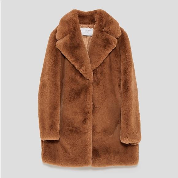 0c47688e Zara faux fur teddy bear coat jacket NWT